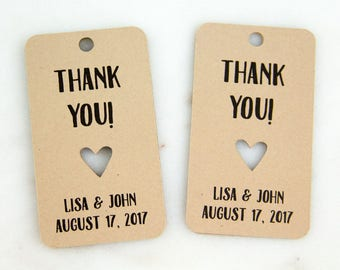 Thank You Tag - Wedding Favor Tags - Wedding Favor Ideas - Custom Tags - Personalized Tags - Party Favors - Thank You Tags - Heart Cut Out