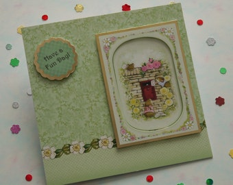 Handmade Birthday card, Greetings card, Cute card, Mice, Decoupage