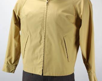 Vintage Men's Jacket - Peters - All Weather - Sports Wear - Yellow - Large - 1940's - 1950's - Harrington - Cotton Blend - Mid Century