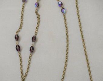 Victorian style LOCKET, very long NECKLACE, purple AB Czech glass beads