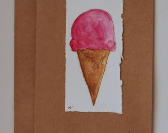 Hand Painted Watercolor Ice Cream Greeting Card on Kraft Paper