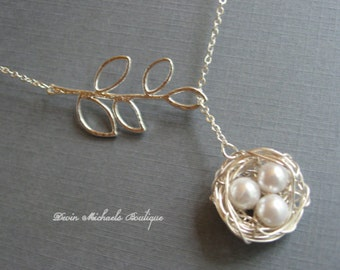 Mothers Day Necklace, Silver Bird Nest Necklace, Silver Lariat Branch Necklace, Mothers Gift, Baby Birds Necklace, Mothers Necklace