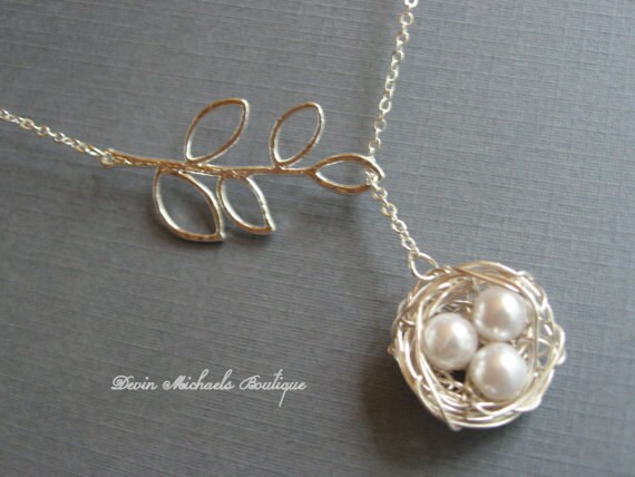 Mothers day necklace silver bird nest necklace silver lariat mothers day necklace silver bird nest necklace silver lariat branch necklace mothers gift baby birds necklace mothers necklace aloadofball Choice Image