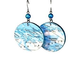 Icy Blue Map Earrings,  Repurposed Maps, Disc Earrings, Lightweight Earrings, Dangle, Antarctica
