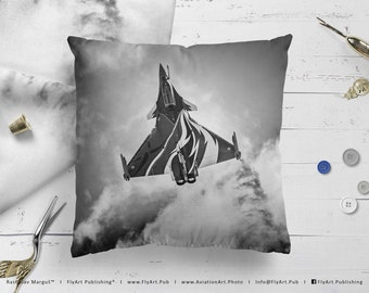 Airplane Pillow, Airplane Cushion, Throw Pillow, Pilot Gifts, Home Decor, Aircraft Pillow Case, Cover, Bedding, French Dassault Rafale C