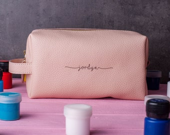 Cosmetic bag makeup bag in nude color - personalized cosmetic pouch with a handle, large makeup case for cosmetics or brushes