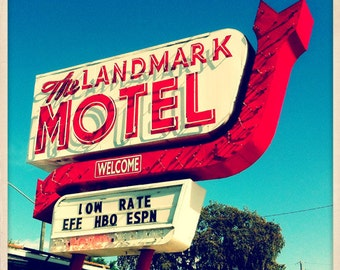 "Landmark Motel Sign St. Petersburg, Florida Photo Print - 8"" x 8"""