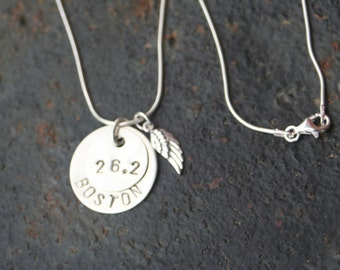 BOSTON Marathon Runner 26.2 Hand Stamped STERLING SILVER Angel Wing Remembrance Necklace