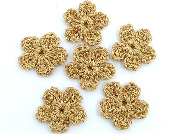 Crochet applique, Christmas appliques. 6 small gold crochet flowers, cardmaking, scrapbooking, handmade, sew on patches embellishments
