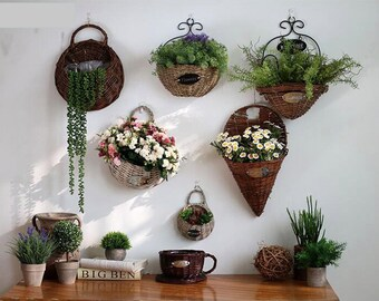 Woven Wicker Wall Basket Home Garden Decoration Storage Container