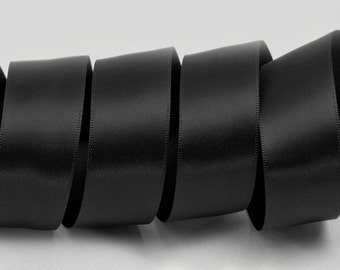 "Black Ribbon, Double Faced Satin Ribbon, Widths Available: 1 1/2"", 1"", 6/8"", 5/8"", 3/8"", 1/4"", 1/8"""