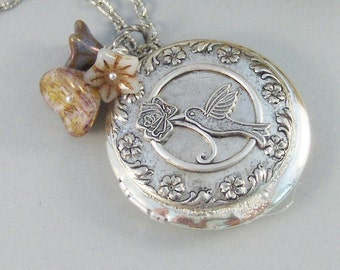 Hummingbird,Locket,Silver Locket,Flower,Bird,Purple,Ivory,Antique Locket,Floral,Jewelry. Handmade jewelry by valleygirldesigns.