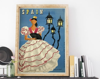 Spain Tourism 1950s by Guy Georget Vintage Spain Art Deco Poster Art Print