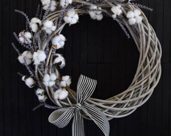 Farmhouse Cotton and Lavender Wreath - 24 inch diameter