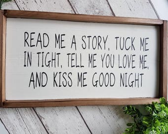 read me a story...... sign quote - memories, family, nursery, storytime, kids, children, bedtime, bedroom, rustic wood sign, framed