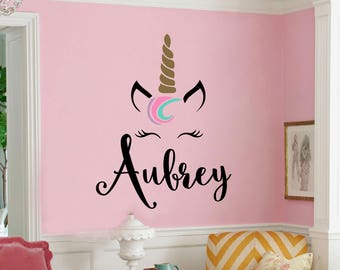 Unicorn Monogram Unicorn Themed Girls Room Unicorn Nursery Vinyl Wall Decal Wall Sticker