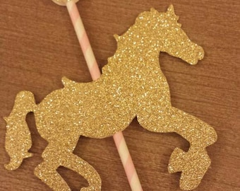 Set of 2 pink Gold glitter carousel horse centerpiece toppers You choose colors Princess Birthday Party 1st Party Table decor