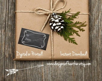 Digital Chalkboard Gift Tags or Stickers