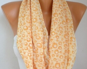 Yellow Bubble Chiffon Infinity Scarf, Spring Summer Scarf, Circle Loop Scarf Gift Ideas For Her Women Fashion Accessories