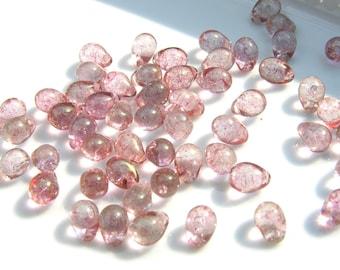 Rosaline Pink 6x4mm Czech Glass Drop Beads  25