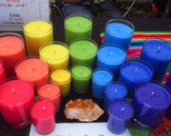 Chakra Soy Votive Candles ~ Set of 7
