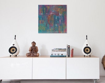 Abstract Moroccan Art Print, Original Abstract art, wall art, 10x10 art, Colorful Art, Happy Art, art under 25, Home decor, Original art