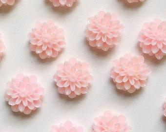 14mm Resin Flower Cabochon - dahlia mum- pale pink - QTY 10