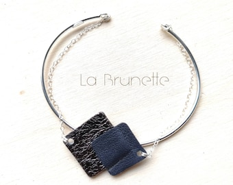 Leather and silver bracelet, ring and chain, geometric in silver and leather, square shape, graphic, anthracite metallic and midnight blue.