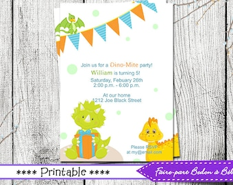 Boy Dinosaur Invitation - Boy Dinosaur Birthday Invitation - Boy Printable Invitation - Dinosaur Invitation - Birthday Invitation