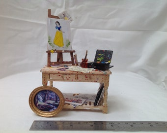 Dolls House Miniatures - 1/12th Artist's Table (snow white themed)