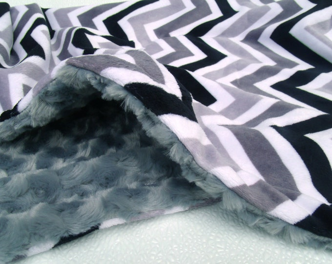 Gray and Black Chevron Minky Blanket