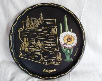 Vintage Arizona Metal Round 11 x 11  Serving Tray