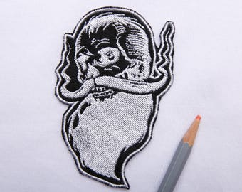 Hipster patch Beard patch Hippie patch Iron on patch Mustache patch Macho patch Mens Biker patch Embroidery bicker patch Skull patch ED9062