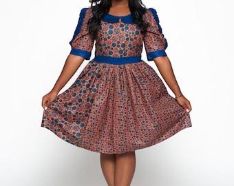 Blue & Multicoloured Woodin Ankara African Print Dress
