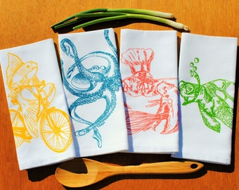 Kitchen Napkins Set of 4 -  Hand Screen Printed Cotton Cloth Napkins - Whimsical Nautical Theme - Cute Wedding Gift or Housewarming Gift -
