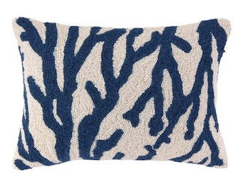 Blue Sea Reef Hand-Hooked Pillow