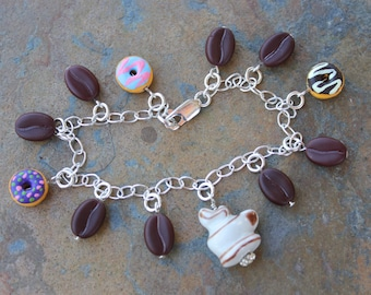 Coffee Break charm bracelet - coffee beans, doughnuts and steaming mug of coffee on sterling silver chain -Free Shipping USA