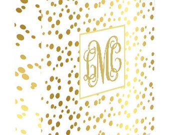 Personalized Binder Cover, White, Gold Dot, Monogram Binder Cover