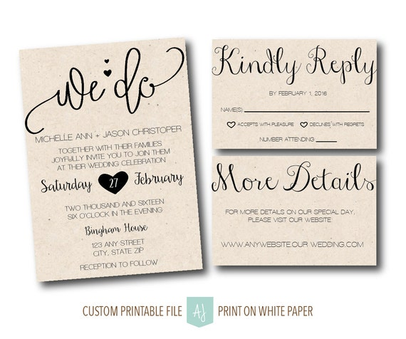 Wedding Invite With RSVP Card Details Card Printable