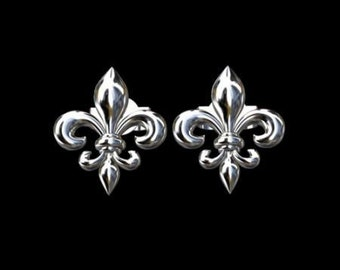 Fleur De Lis Earrings, Flower Silver Earrings, Floral Stud Earrings, Flowers Of The Lily Earrings, Silver Studs Earrings, Post Push Back