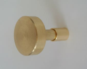 Brass Wall Hook -Large Flat Top Brass Wall Hook -Modern Wall Hook - Large Wall Hook Handmade Hardware