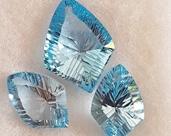 3 Pieces of SKY BLUE TOPAZ Conclave Cut Facetted Fancy Shape
