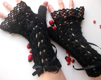 Crocheted Cotton Gloves L Ready To Ship Victorian Fingerless Summer Women Wedding Lace Evening Hand Knitted Party Opera Black Corset B72