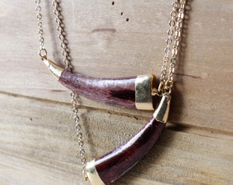 Brown Bone Sideways Tusk Horn Necklace/ Delicate Bone Tusk Horn/ Tibetan Nepali Tribal/ Bohemian Large Tusk Bone White Tusk Horn (NBB23)
