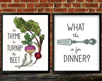 Kitchen Art, Turnip the Beet, Kitchen Decor, Fork, Thyme to Turnip the Beet, Housewarming gift