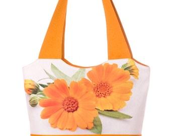 Calendula Print Bag  Shoulder Bag  Print Tote Bag  Floral Print Bag  Cotton Handbag Yellow Handbag (C0307)