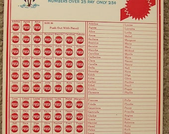 Vintage Name TURKEY GAME CARD..Select your fav girl .... win a 10 lb Turkey.. mid century, fun old names