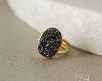 Gold Titanium Coated Black Druzy Ring - Adjustable Ring - Statement Ring