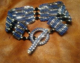 Herringbone beaded bracelet w indigo bicones