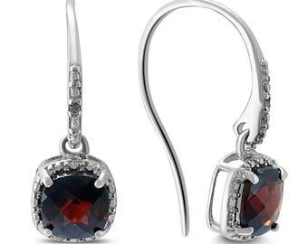 Cushion Cut Garnet and Diamond Halo Dangle Earrings in .925 Sterling Silver